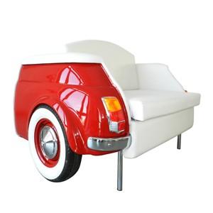 milano divano rosso a due posti fiat 500 vernice rossa arredamento rivestimento pelle bianca fronte lato palermo design arredo pisticci matera basilicata