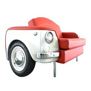 roma divano bianco a due posti fiat 500 vernice bianca arredamento rivestimento pelle rossa fronte lato palermo design arredo pisticci matera basilicata