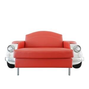 roma divano bianco a due posti fiat 500 vernice bianca rivestimento pelle rossa centrale palermo design arredo pisticci matera basilicata