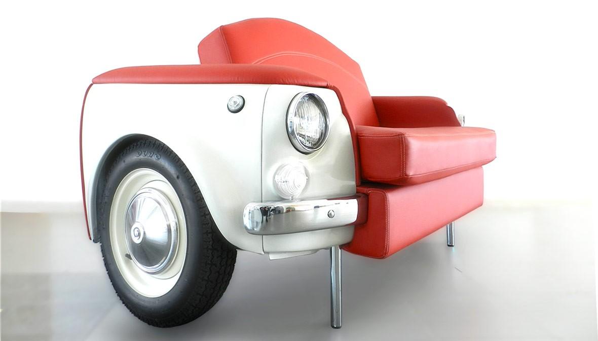 slide uno fiat 500 divano palermo design cofano arredo creativo bianco rosso pisticci matera basilicata