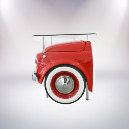 matera scrivania fiat 500 vernice rossa lato sinistro pelle bianca palermo design arredo ufficio casa pisticci matera basilicata