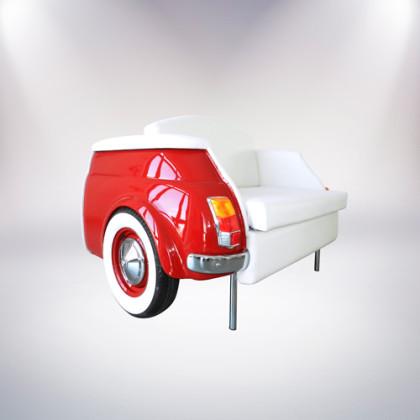 milano divano rosso a due posti fiat 500 vernice rossa rivestimento pelle bianca fronte lato palermo design arredo pisticci matera basilicata