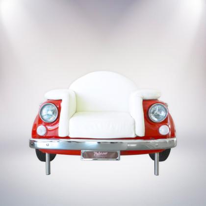 palermo poltrona un posto fiat 500 vernice rossa rivestimento pelle bianca fronte palermo design arredo ufficio pisticci matera basilicata