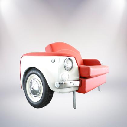 roma divano bianco a due posti fiat 500 vernice bianca rivestimento pelle rossa fronte lato palermo design arredo pisticci matera basilicata