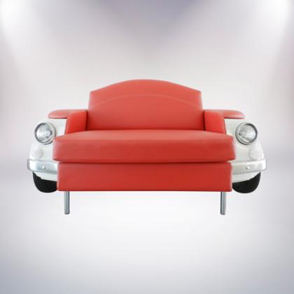 roma divano bianco a due posti fiat 500 vernice bianca rivestimento pelle rossa fronte palermo design arredo pisticci matera basilicata