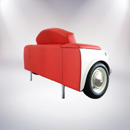 roma divano bianco a due posti fiat 500 vernice bianca rivestimento pelle rossa lato palermo design arredo pisticci matera basilicata