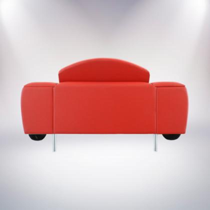 roma divano bianco a due posti fiat 500 vernice bianca rivestimento pelle rossa retro palermo design arredo pisticci matera basilicata